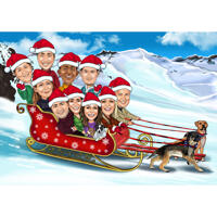 Christmas Group Caricature in Santa Sleigh and Winter Background