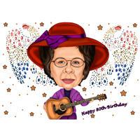 Caricature d'anniversaire de grand-mère personnalisée pour le cadeau du 80e anniversaire