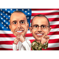Two Persons Caricature in Color Style with Flag Background