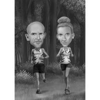 Regalo dei corridori - Ritratto di caricatura di coppia da foto in stile bianco e nero con sfondo