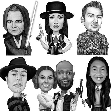 Any Movies Character Caricature from Photos in Black and White Style - example