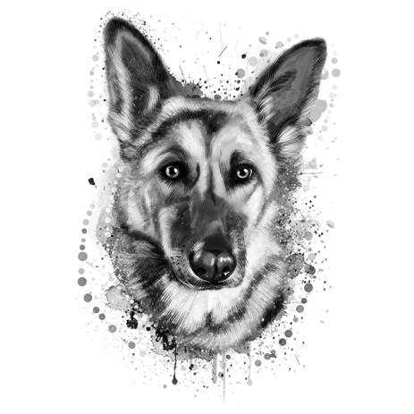 Graphite Portrait of German Shepherd Dog from Photos - example
