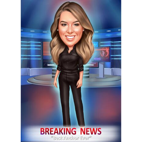TV Presenter Caricature from Photos - Breaking News - example
