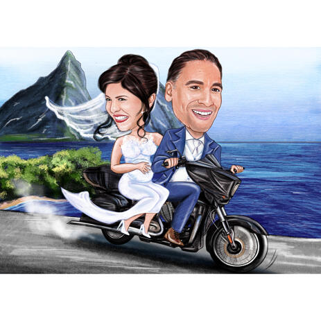 Couple on Motorcycle Caricature with Colored Background - example