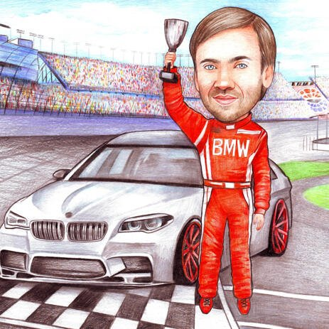 Birthday Caricature for Car Lovers and Enthusiasts - example