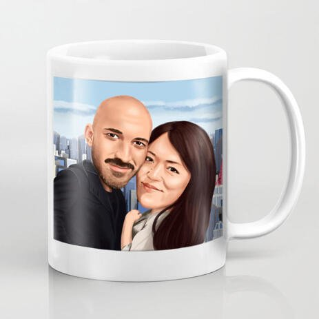 Personalised Couple Caricature Mug - example
