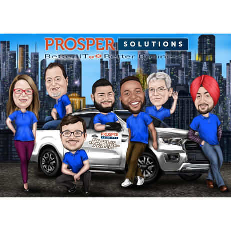 Company Caricature with Vehicle and Business Logo Information - example