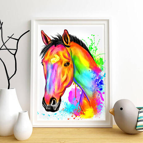 Watercolor Horse Painting Print on A4 Poster - example