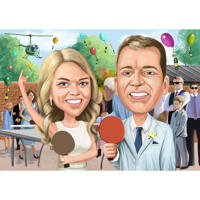Couple Party Caricature in Color Style from Photos