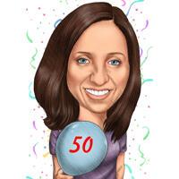 Persoon met verjaardag ballon karikatuur cadeau voor verjaardag