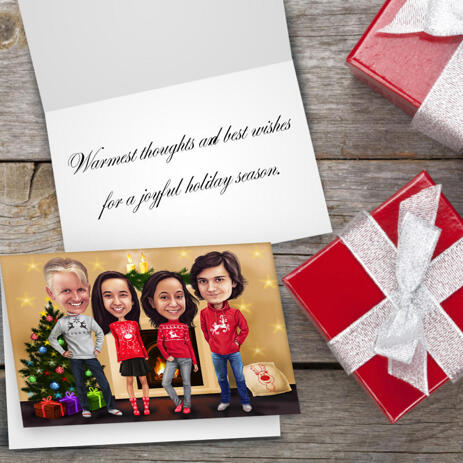 Company Group Set of 10 Caricature Cards Gift in Color Style with Christmas Tree Background - example