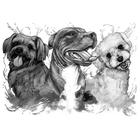 Portrait de trois chiens dans un style aquarelle en niveaux de gris monochrome à partir de photos - example