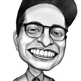Custom Caricature from Photos in Black and White Style