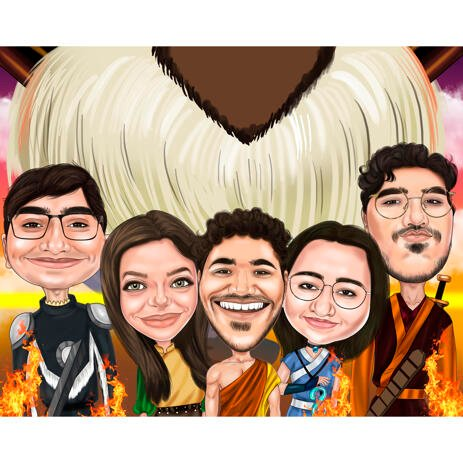 Group Friends Caricature for Avatar Fans - example