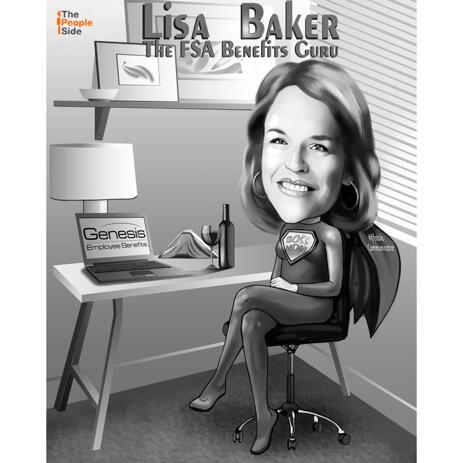 Freelance Manager Cartoon Gift - Full Body-karikatuur in zwart-witstijl met aangepaste achtergrond - example
