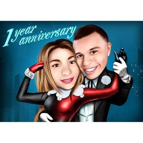 1 Year Anniversary Couple Caricature: Favorite Superheroes - example