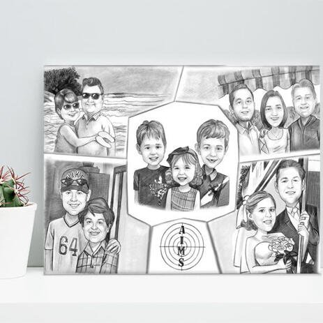 Family Collage Caricature as Canvas - example