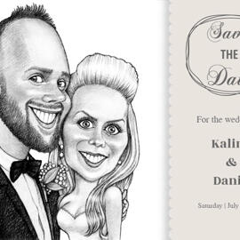 Pencils Portrait of Bride and Groom as Invitations Print