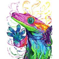 Карикатура на рептилий-ящериц-хамелеонов в акварельном стиле по фото