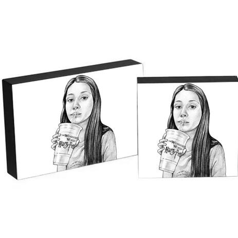 Teen Caricature from Photos as Photo Block - example