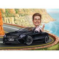 Person som reser med bilkarikatyr för semestertecknad teckningsgåva
