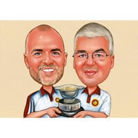 Sport Persons with Trophy Cup Caricature from Photos with One Color Background