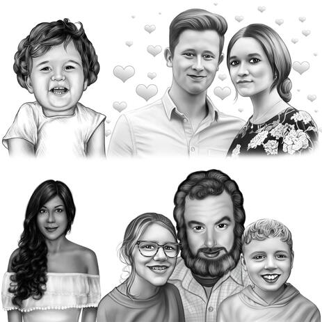 Black and White Portrait Hand-Drawn from Your Photos - example