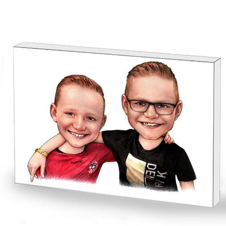 Friends Kids Caricature on Photo Block - example