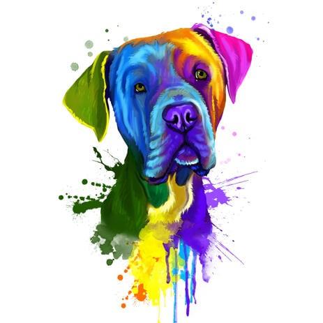 Ručně tažené lovecký pes Dogge portrétní karikatura z fotografií ve stylu hlavy a ramen akvarel - example