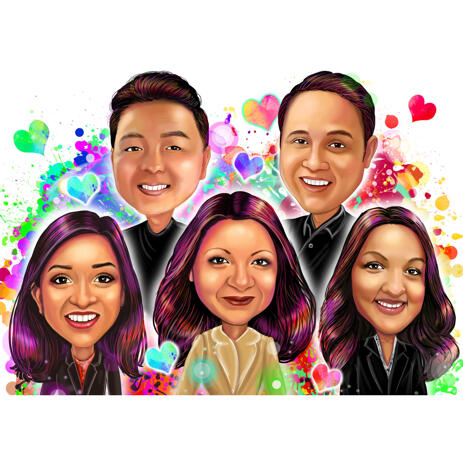 Friend Group Watercolor Style Caricature Portrait from Photos - example