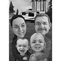 Black and White Family Cartoon Portrait from Photos for Thanksgiving Day Card Gift