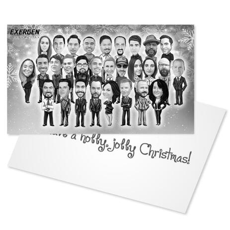 Company Holiday Cartoon Caricature Set of 10 Cards in Black and White Style from Photos - example