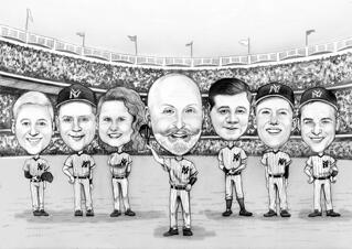 Baseball Team Group Caricature from Photos