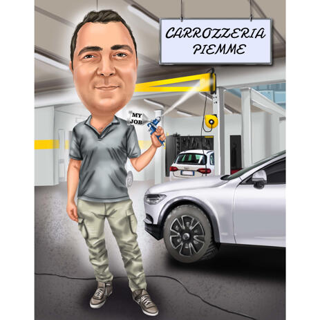 Professional Car Washer Vehicle Cleaning Caricature with Custom Background from Photos - example
