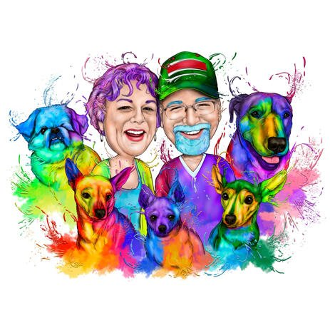 Couple with Mixed Dog Breeds Caricature in Bright Rainbow Watercolor Style from Photos - example