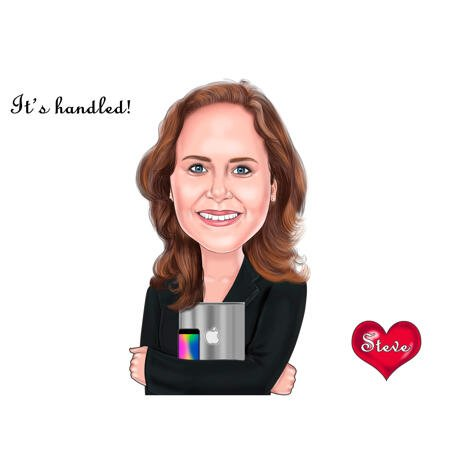 Head and Shoulders Product Manager Caricature Portrait for Custom Creative Gift - example