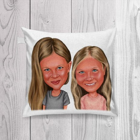 BFF Kid Caricature Printed on Pillow - example