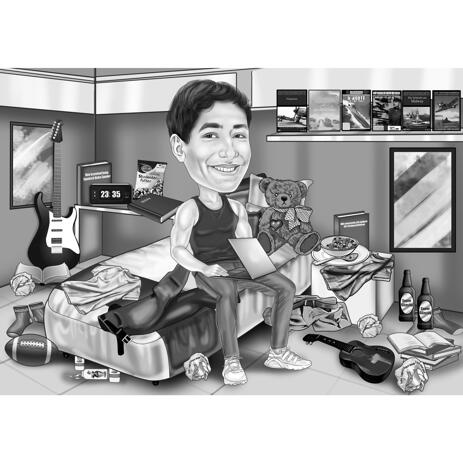 Blogger Caricature in Black and White Style with Custom Background from Photos - example