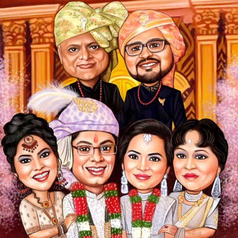 Wedding Family Caricature from Photos: Head and Shoulders Portrait - example