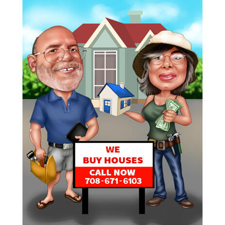 Home Realtors Caricature Logo from Photos - example