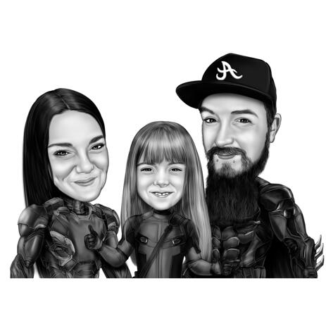 Couple with Kid Family Superhero Cartoon Portrait in Black and White Style - example
