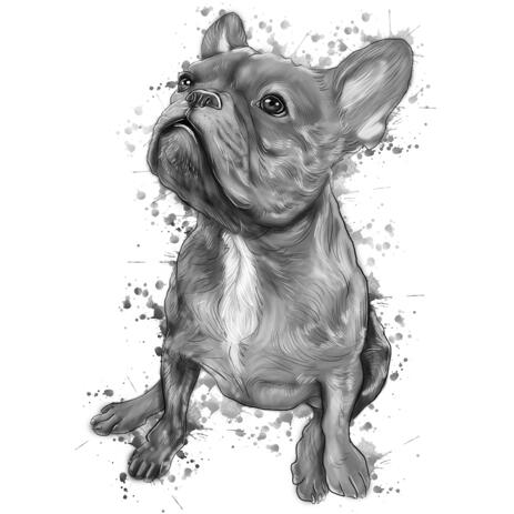 Full Body Charcoal Gray Watercolor Style French Bulldog Portrait from Photos - example