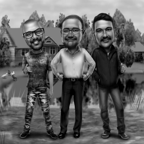 Three Persons Full Body Caricature in Black and White Style - example