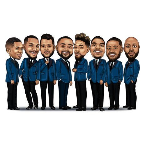 Groomsmen Caricature Gift Wearing Tuxedos - example