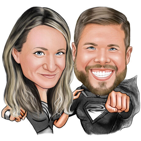 Superheroes in Action - Couple Caricature for Anniversary Gift - example