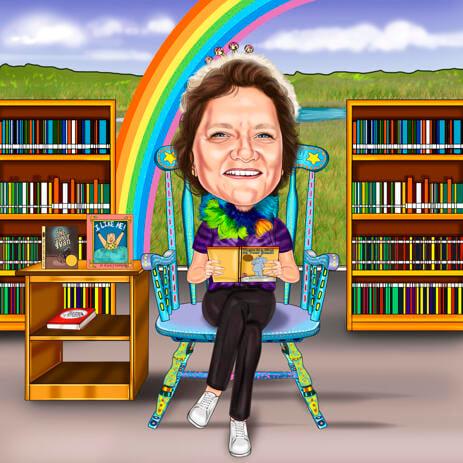 Scuola elementare bibliotecario persona Cartoon disegno da foto - example