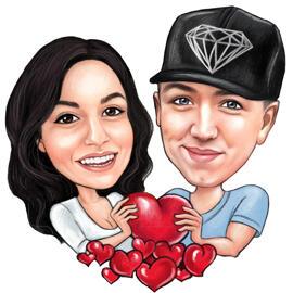 Paar karikatuurist südamega südame Valentiinipäeva kaardile