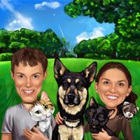 Gemengde huisdieren en mensen karikatuur van foto's op lente zomer achtergrond