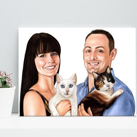 Family with Pets Caricature on Canvas - example