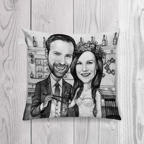 Just Married Caricature Printed as Pillow - example